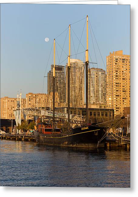 Schooner Greeting Cards - Tall Ship and Full Moon at Toronto Harbourfront Greeting Card by Georgia Mizuleva