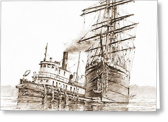 Tall Ships Drawings Greeting Cards - Tall Ship Assist Sepia Greeting Card by James Williamson