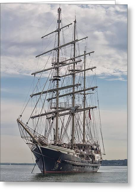 Wooden Ship Greeting Cards - Tall ship at anchor Greeting Card by Colin Porteous