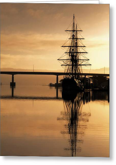 Sunrise Over California Greeting Cards - Tall Ship at Sunrise 2 Greeting Card by Mark Alder