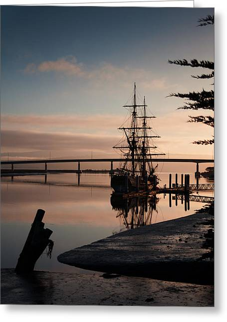 Sunrise Over California Greeting Cards - Tall Ship at Sunrise Greeting Card by Mark Alder
