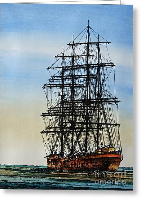 Sailing Ship Framed Prints Greeting Cards - Tall Ship Beauty Greeting Card by James Williamson