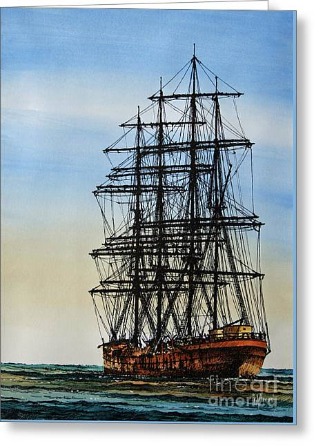 Tall Ship Canvas Greeting Cards - Tall Ship Beauty Greeting Card by James Williamson