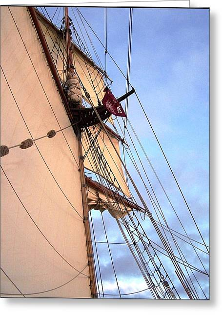 Tall Ship Greeting Cards - Tall Ship Catching the Wind Greeting Card by Patti Walden