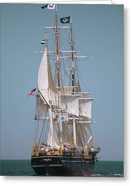 Old Ship Art Greeting Cards - Tall Ship Charles W Morgan Greeting Card by Dapixara Art