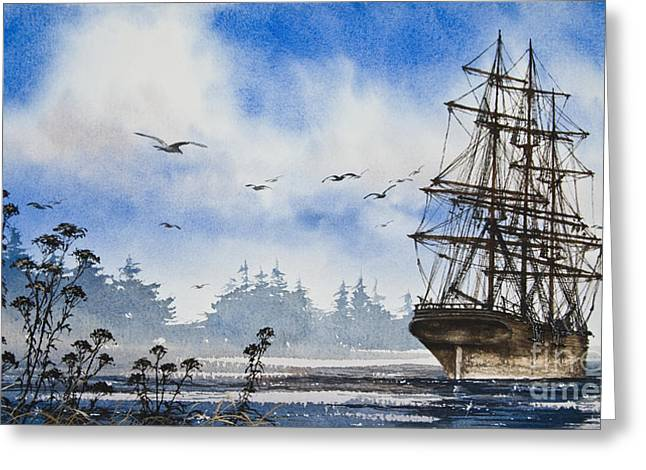 Maritime Print Greeting Cards - Tall Ship Cove Greeting Card by James Williamson