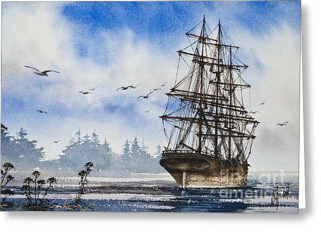 Artist James Williamson Maritime Print Greeting Cards - Tall Ship Cove Greeting Card by James Williamson