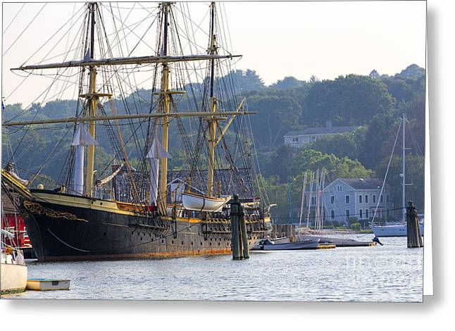 Wooden Building Greeting Cards - Tall Ship Docked in  Mystic Seaport Greeting Card by George Oze
