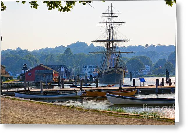 Wooden Building Greeting Cards - Tall Ship Docked on the Mystic River Greeting Card by George Oze