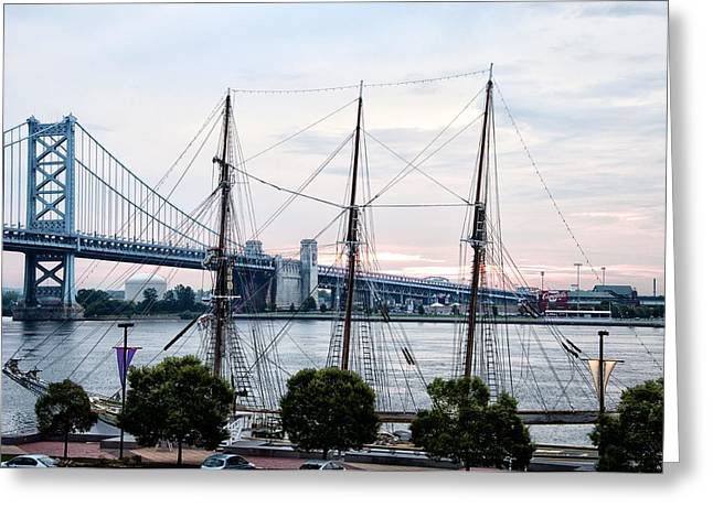 Tall Ships Greeting Cards - Tall Ship Gazela at Penns Landing Greeting Card by Bill Cannon