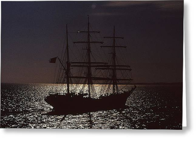 Tall Ships Mixed Media Greeting Cards - Tall ship in moonlight Greeting Card by Anthony Dalton