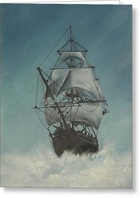 Tall Ships Greeting Cards - Tall Ship in Storm Greeting Card by Jeff Warren