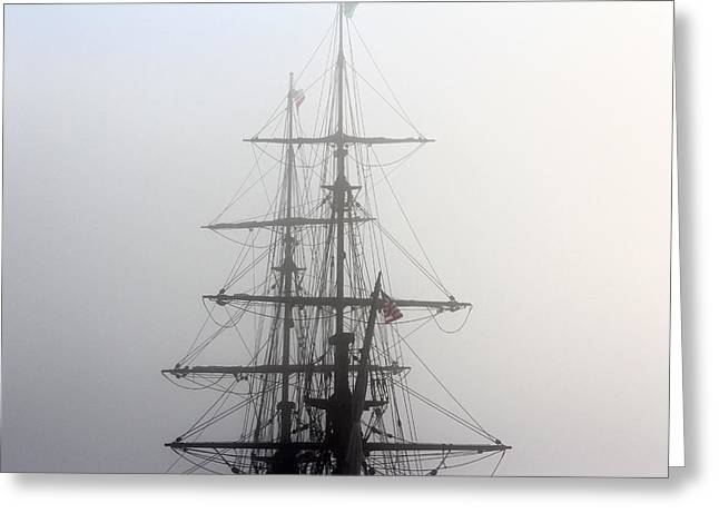 Tall Ships Greeting Cards - Tall Ship in the Fog Greeting Card by Liz Vernand