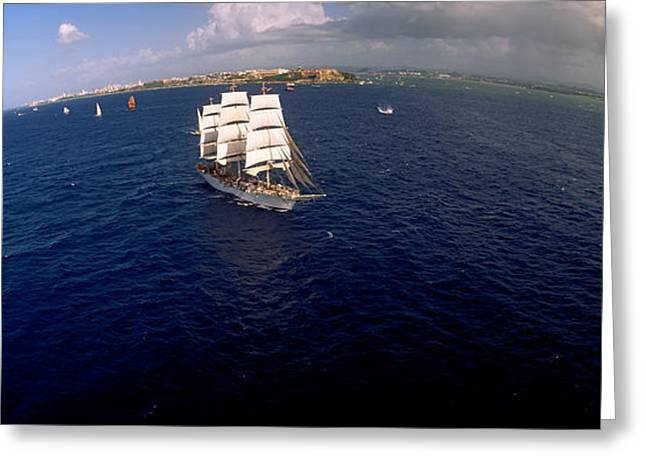 Tall Ships Greeting Cards - Tall Ship In The Sea, Puerto Rico Greeting Card by Panoramic Images