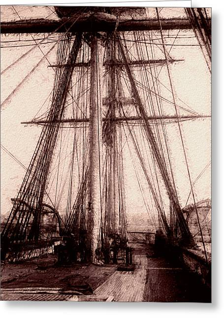 Canvas On Board Greeting Cards - Tall Ship Greeting Card by Jack Zulli