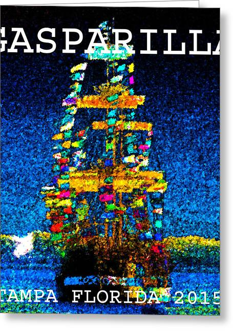 Pirate Ship Digital Greeting Cards - Tall ship Jose Gasparilla Greeting Card by David Lee Thompson