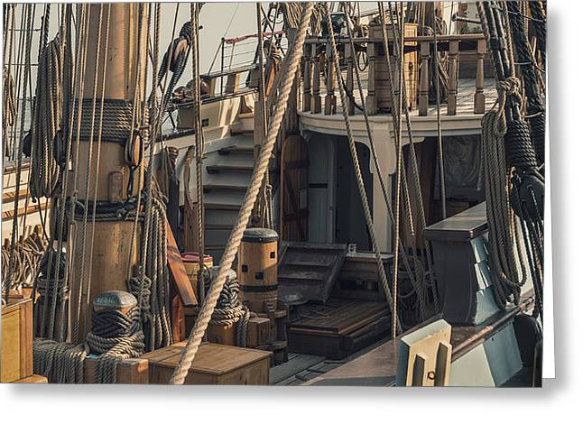 Tall Ship Kalmar Nyckel Ropes Greeting Card by Dapixara Art