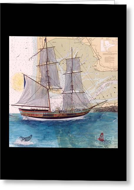 Lady Washington Greeting Cards - Tall Ship Lady Washington Nautical Chart Map Art Cathy Peek Greeting Card by Cathy Peek