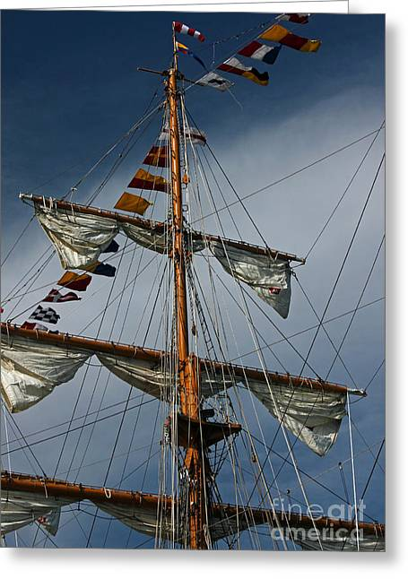 Tall Ships Greeting Cards - Tall Ship Mast Greeting Card by Suzanne Gaff