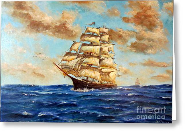 Wooden Ship Paintings Greeting Cards - Tall Ship On The South Sea Greeting Card by Lee Piper