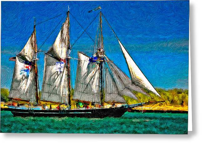 Tall Ships Greeting Cards - Tall Ship paint  Greeting Card by Steve Harrington