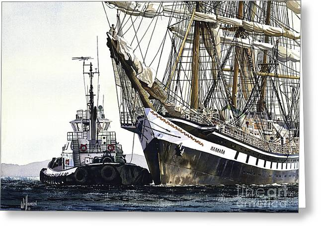 Tall Ship Pallada Greeting Card by James Williamson