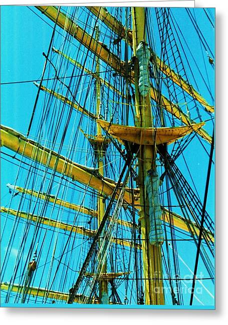 Masts Greeting Cards - Tall Ship Rigging 1 Greeting Card by Marcus Dagan