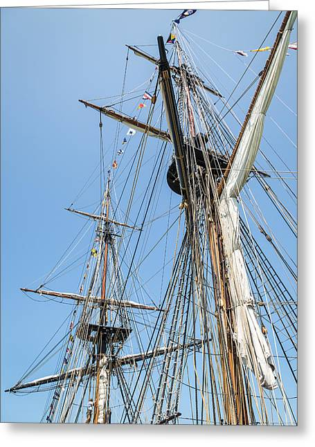 Tall Ships Greeting Cards - Tall Ship Rigging Greeting Card by Dale Kincaid