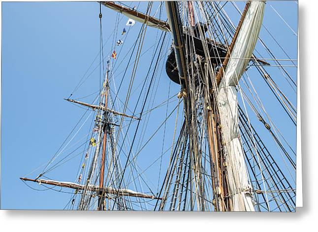 Tall Ship Rigging Greeting Card by Dale Kincaid
