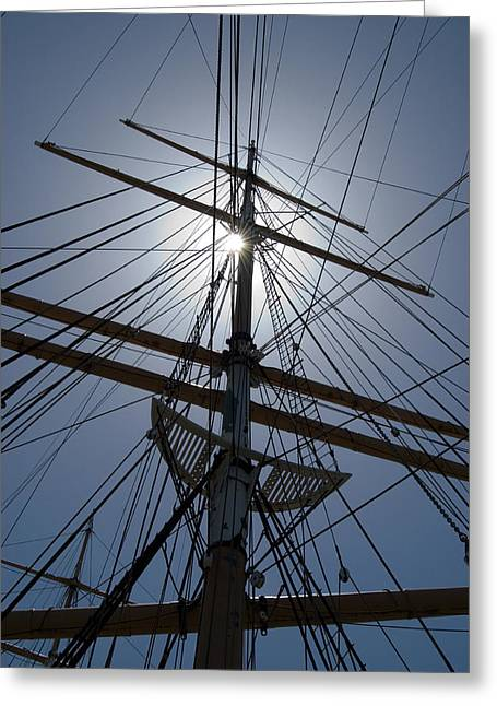 Canvas Crows Greeting Cards - Tall Ship Rigging Greeting Card by Dave Koontz