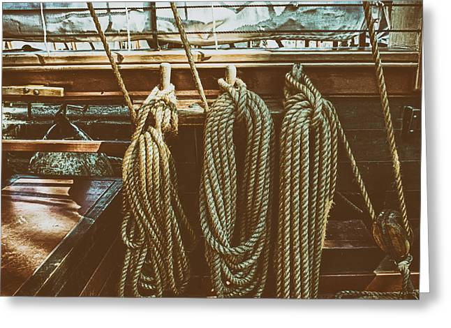 Tall Ships Greeting Cards - Tall Ship Rigging Greeting Card by James Smith