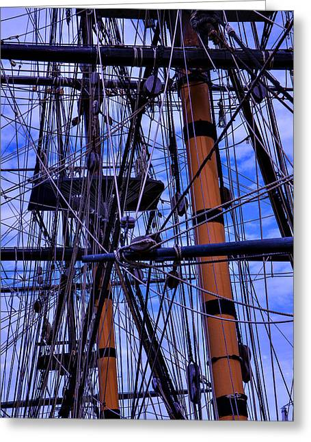 Tackle Photographs Greeting Cards - Tall Ship Rigging of The HMS Surprise Greeting Card by Garry Gay