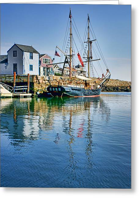 Pirate Ship Greeting Cards - Tall Ship - Rockport Harbor - Massachusetts Greeting Card by Nikolyn McDonald