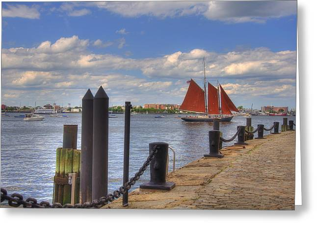 Historic Schooner Greeting Cards - Tall Ship The Roseway in Boston Harbor Greeting Card by Joann Vitali
