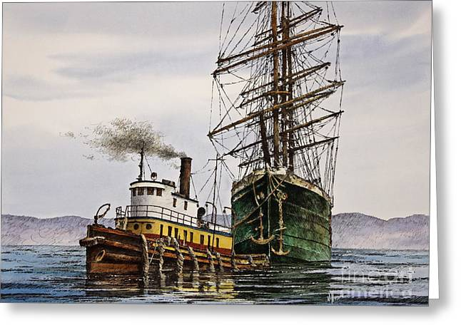Pen And Ink Framed Prints Paintings Greeting Cards - Tall Ship Tugboat Assist Greeting Card by James Williamson