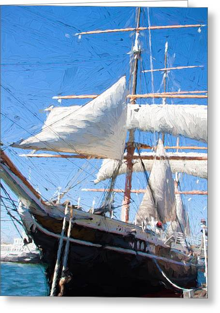 Masts Greeting Cards - Tall Ship Greeting Card by Vivian Frerichs