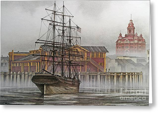 Tall Ship Canvas Greeting Cards - Tall Ship Waterfront Greeting Card by James Williamson