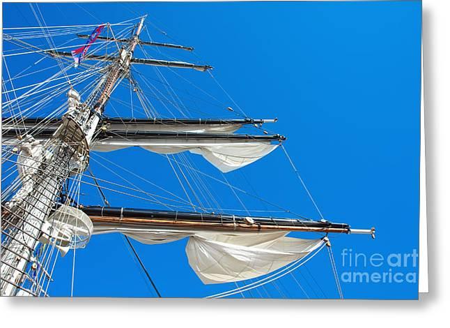 Sailing Ship Greeting Cards - Tall ship yards Greeting Card by Jan Brons