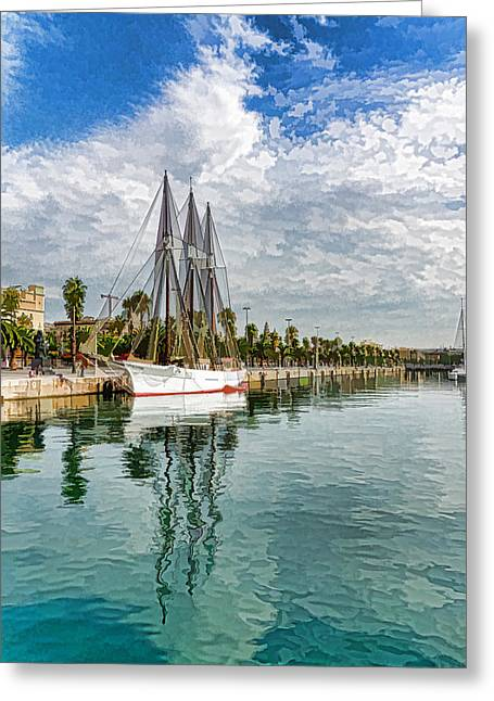 Tall Ship Greeting Cards - Tall Ships and Palm Trees - Impressions of Barcelona Greeting Card by Georgia Mizuleva