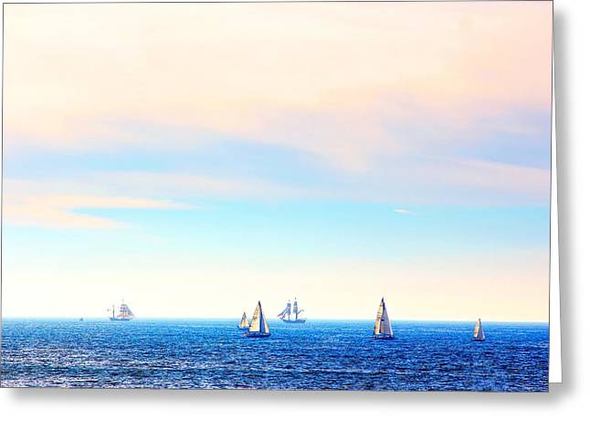 Ocean Sailing Greeting Cards - Tall Ships and Sail Boats Greeting Card by Liz Vernand
