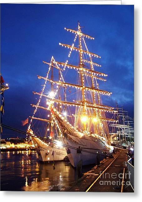 Tall Ship Glass Greeting Cards - Tall ships at night time Greeting Card by Joe Cashin