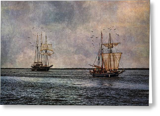 Tall Ships Greeting Card by Dale Kincaid