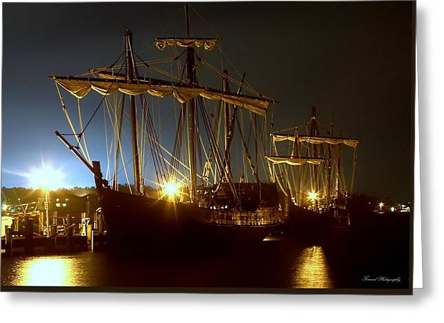 Pilgram Greeting Cards - Tall Ships Greeting Card by Debra Forand