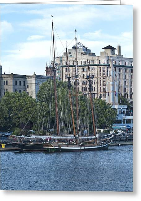 Water Vessels Greeting Cards - Tall Ships in Victoria Harbor Greeting Card by Randall Nyhof