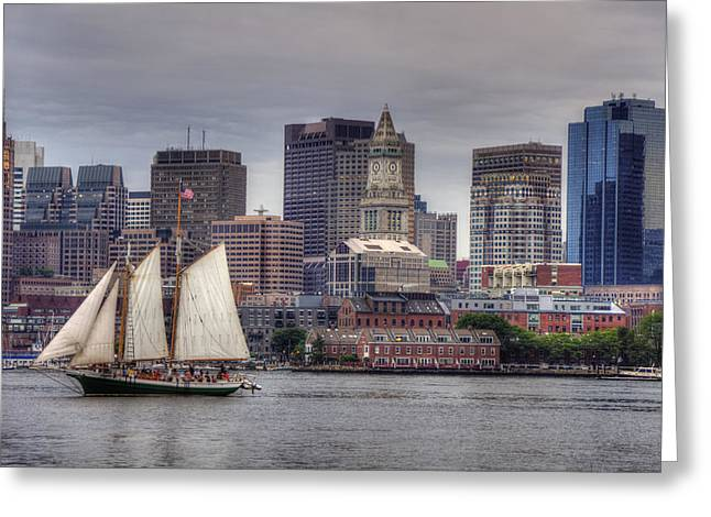 Best Sellers -  - Sailboats In Harbor Greeting Cards - Tall Ships on Boston Harbor Greeting Card by Joann Vitali