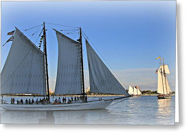 Stein Greeting Cards - Tall ships passing Greeting Card by Valerie Stein