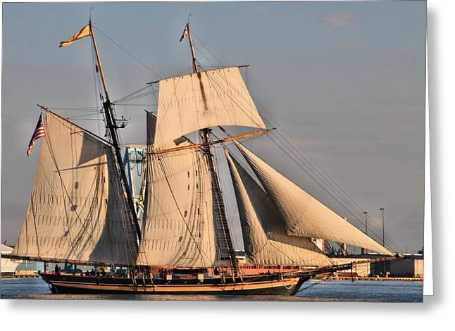 Stein Greeting Cards - Tall ships Penns Landing Philadelphia Pa Greeting Card by Valerie Stein