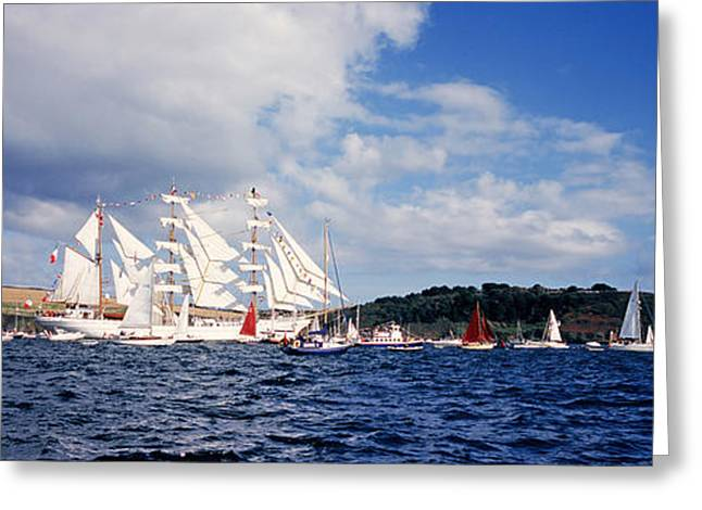 Panoramic Ocean Greeting Cards - Tall Ships Race Falmouth 2008 Greeting Card by Mike Greenslade