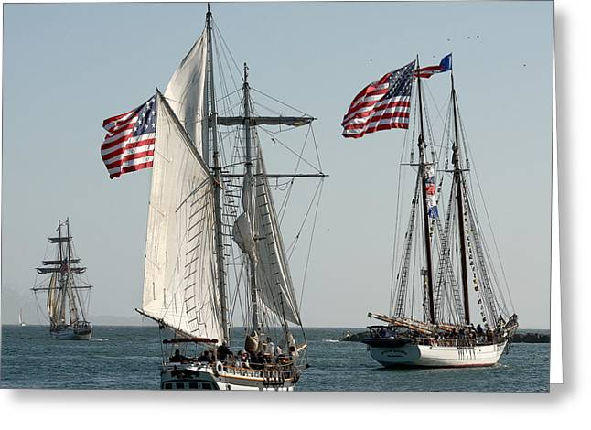 California Art Greeting Cards - Tall Ships Sailing Greeting Card by Art Block Collections