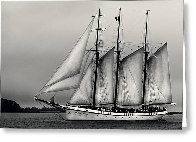 Tall Ship Pyrography Greeting Cards - Tall Ships Sailing boat Greeting Card by Peter v Quenter
